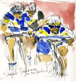 Tour de France, cycling art,Flat out to the finish! by Maxine Dodd, watercolour, pen and ink