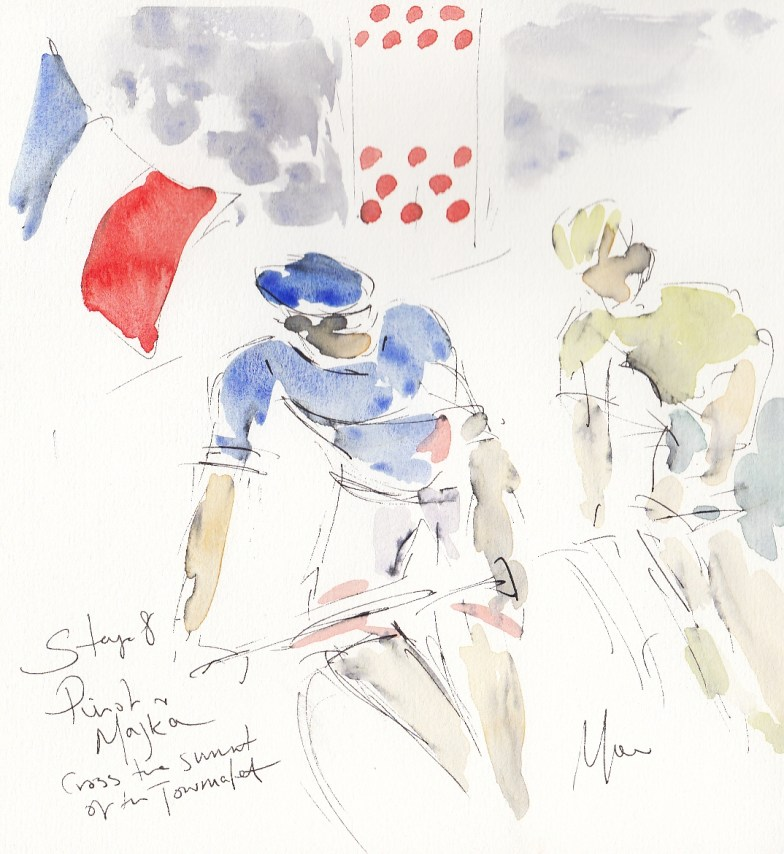 Tour de France, Cycling art, Pinot and Majka cross the summite of the Tourmalet by Maxine Dodd