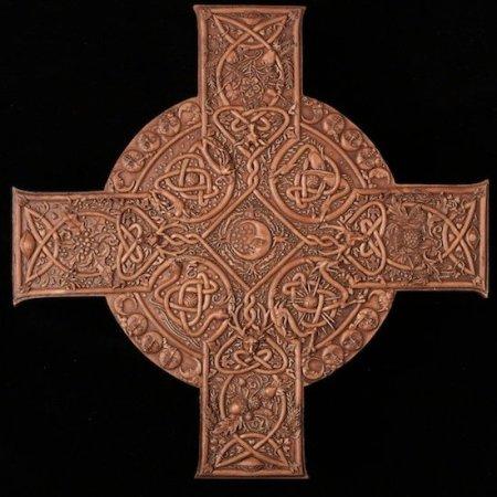Elemental Celtic Cross Plaque Wood Finish Resin Artist: Maxine Miller ©celticjackalope.com