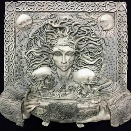 Photo 1 Celtic Goddess Cerridwen Plaque Stone Finish Resin by Maxine Miller © Celticjackalope.com
