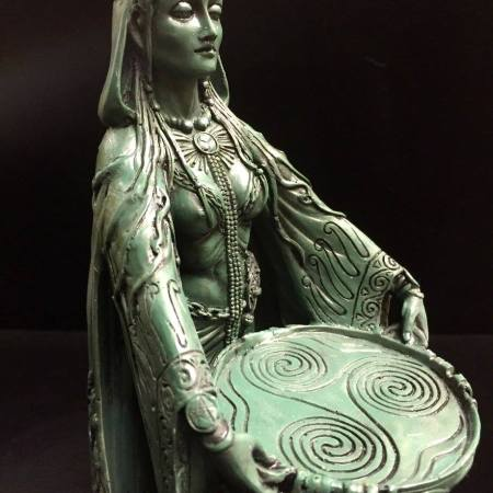 FRONT 2: DANU Celtic Water Goddess Statue Green Bronze Resin by Mazine Miller © Maxine Miller