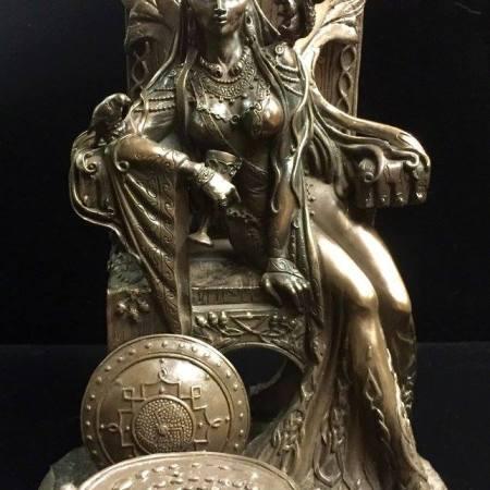 FRONT: Maeve / Medb Celtic War and Love Goddess Statue Cold Cast Bronze By Maxine Miller ©Maxine Miller