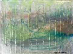 """Basin Bayou"" by Maxine Orange, 9"" x 12"" textured surrealist landscape http://etsy.me/2aBwlaJ"