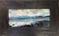 """SOLD """"Channel Islands"""" with black barnwood frame 22"""" x 36"""""""
