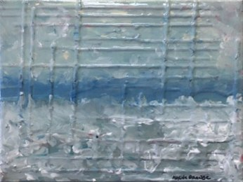 """SOLD """"Resin Color Study 1"""" by Maxine Orange, 9"""" x 12"""" textured surrealist landscape"""