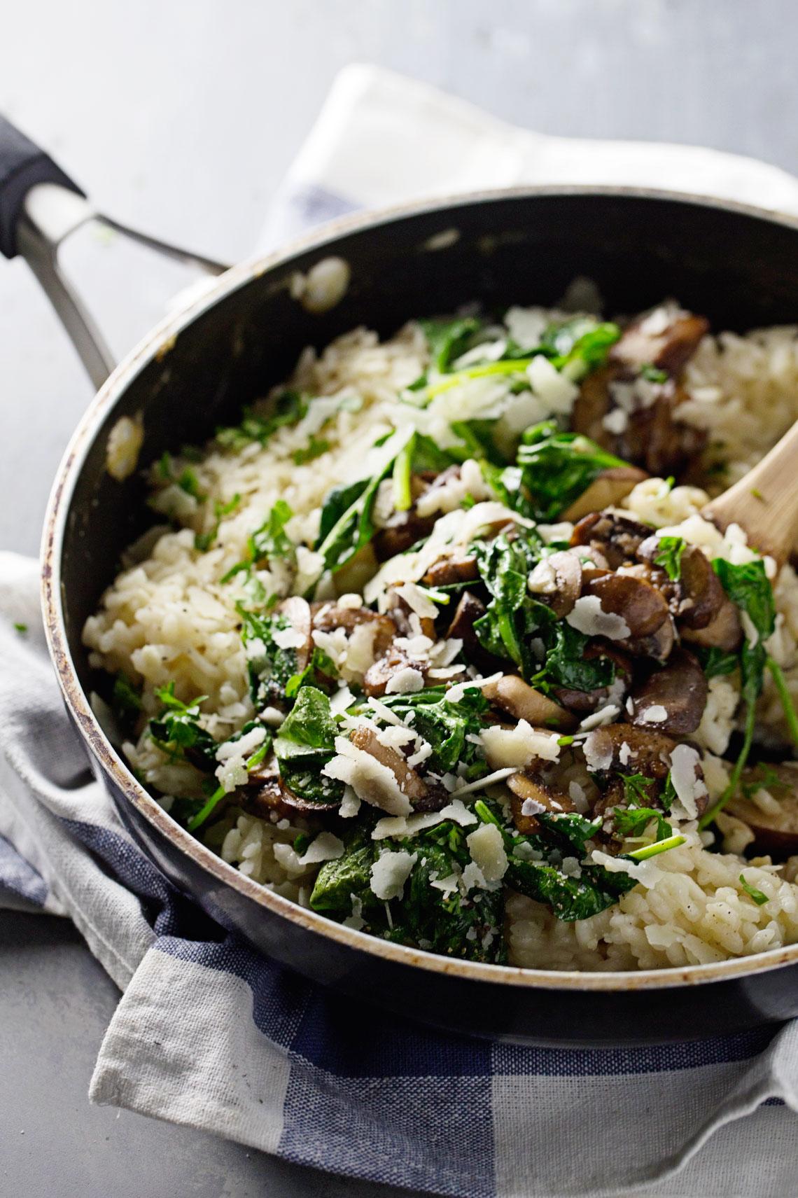 Recette Risotto Poulet Champignon : recette, risotto, poulet, champignon, Risotto, Canard,, épinard, Champignons, Recette, Direct, Cloutier, L'affamé