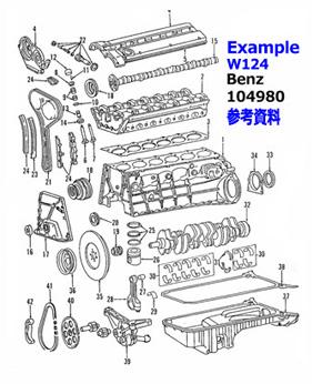 クラシックベンツの純正部品 1963-71年ベンツ のエンジンパーツ 北米ディーラー
