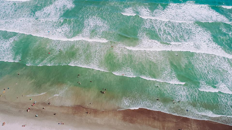Drone View, Aerial View, Sea, Ocean, Wave, Beach, Shore