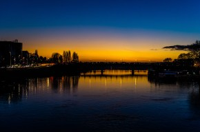 Angers (Fr.) and the river Maine by night