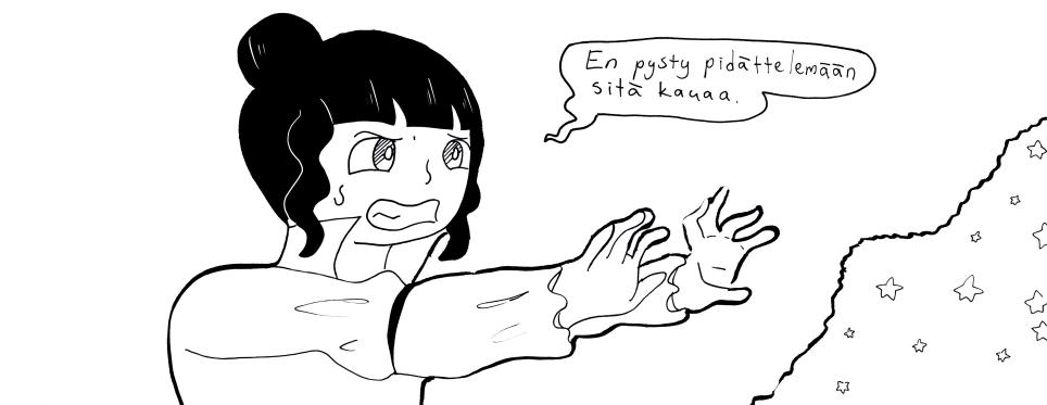 Pieni nainen pohjoisesta, joka talven keskellä rakastaa juoda lämmintä kaakaota ja käyttää mielikuvitustaan sarjakuvien piirtämiseen ja hahmojen luomiseen. Töitäni löytää : sarjakuva comicfuryssa:fightforspirits.cfw.me instagram: @sallah_art