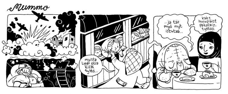 Olen Anni Nykänen, palkittu suomalainen sarjakuvataiteilija ja kuvittaja. Pidän eläimistä, nokosista ja pöljyyksistä. Mummo on aktiivisin tällä hetkellä täällä https://www.facebook.com/MummoSarjakuva/ vaikka päivittämisen tahti on välillä hidas kuin mummo kassajonossa.