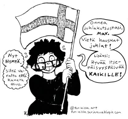 Olen Essi Välimäki, 28 v, nettimaailmassa Pur-kissa tai Pur.kissa. Opiskelen tällä hetkellä kolmatta vuottani graafista suunnittelua Lahden ammattikorkeakoulun Muotsikassa. Kiinnostukseni alalla painottuu enimmäkseen sarjakuvaan ja kuvittamiseen. Vapaa-ajallani pidän suhteellisen aktiivista sarjakuvablogia omasta (semi saamattomasta ja ahdistuksentäytteisestä) elämästäni, sekä piirtelen aktiivisesti surrealistisia kauhueläinkuvituksia Instagramiini. Pieniä sarjakuvaprojekteja minulla on tulilla tällä hetkellä pari, joista toinen vaatii vielä työstämistä ja toista varten säästän tällä hetkellä rahaa painokuluihin. Tekemistäni täällä kotona (Riihimäellä) kannustavat puolisoni, kolme kissalastamme, mummokoira sekä kääpiöhamsteri nimeltään Hippipallo. MISTÄ TÖITÄ LÖYTÄÄ: pur-kissa.sarjakuvablogit.com instagram.com/pur.kissa.art/ facebook.com/PurkissaART/