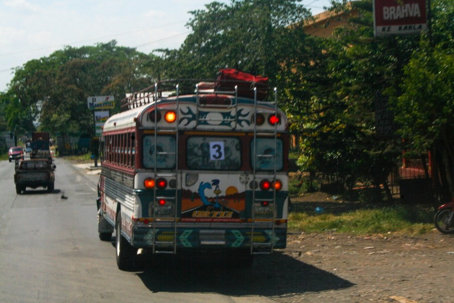 The back of a Guatemalan chicken bus
