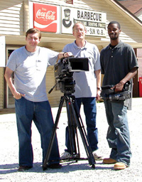 Cinematographer Wade Woodall, producer/director Max Shores, and production assistant Jesse Lewis at Top Hat BBQ.