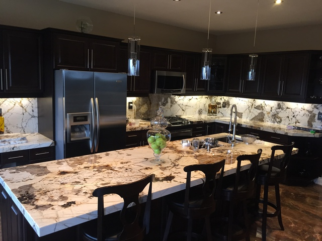 kitchen backslash remodeling fairfax va blanc du granite kitchen, island and backsplash ...