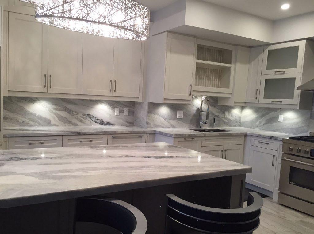 quartz kitchen countertops shelves for cabinets mont blanc quartzite and full backsplash ...