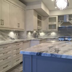 Pictures For Kitchen Wall Drop In Stainless Steel Sink Mont Blanc Quartzite And Full Backsplash ...