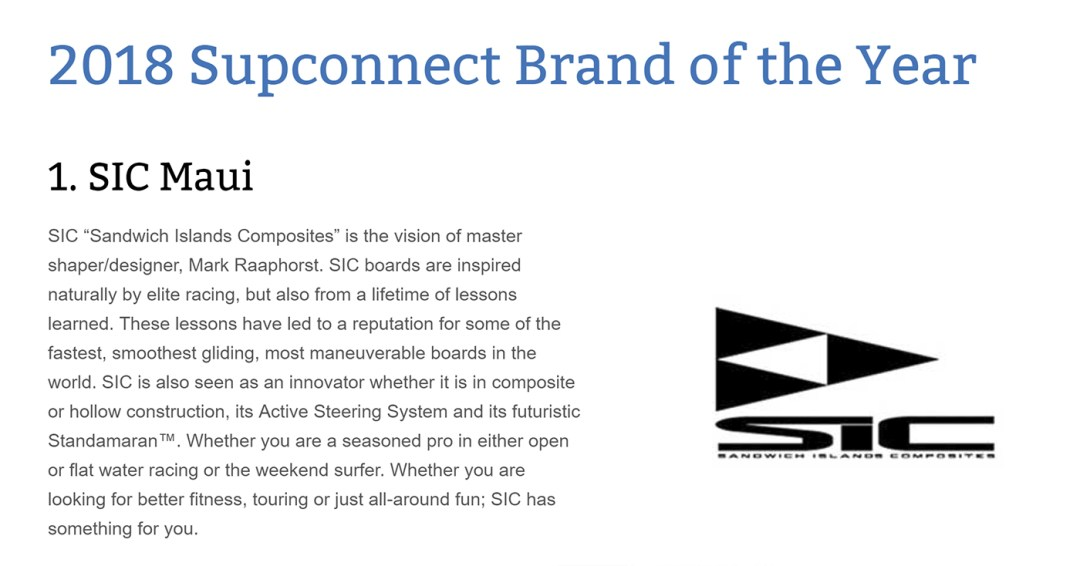 SUP Connect Brand of the Year 2018 - SIC Maui