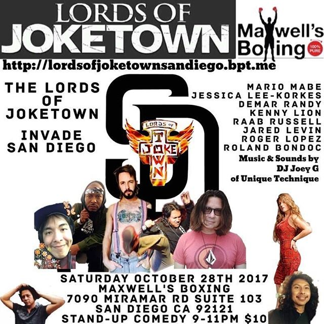 You're invited to share some laughs as the Lords of Joketown make their way to Maxwell's Boxing for a night of stand up! Show starts at 9pm on Sat, Oct. 28th. Tickets are only $10 per person! See you then! ..#maxwellsboxing #comedynight #lordsofjoketown #whattodo #sdnightlife #sandiego #satnightfun #maxwellsboxingevents @sherm06 @ryan_823