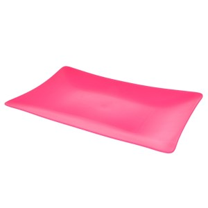 Platou plastic, rezistent si reutilizabil, 3 mm grosime, platou servire aperitive/desert, 19 x 31 cm, dreptunghiular, ciclam, Quasar-0