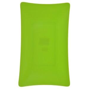 Platou plastic, rezistent si reutilizabil, 3 mm grosime, platou servire aperitive/desert, 19 x 31 cm, dreptunghiular, verde, Quasar-46101