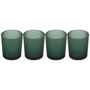 Set 4 suporturi de lumanari tip pastila, Rasteli, sticla, Ø 5 cm, h 6.5 cm, verde mat, art. 7105-0