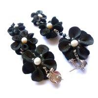 Black leather flower earrings with pearls | Maya ot Raya's ...