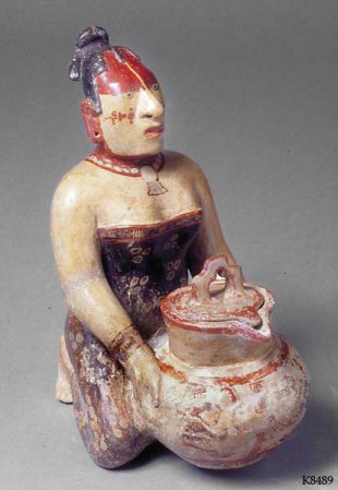 Figure 6. A courtesan with pulque or enema jar? (Princeton Art Museum, Museum purchase, Fowler McCormick, Class of 1921, Fund 2005-65 a-b, K8489, photograph © Justin Kerr).
