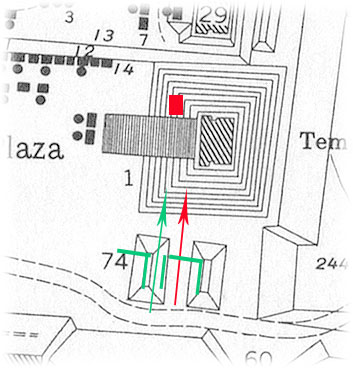Figure 2. Alignment of Str. FD-74 with Burial 116 under Temple 1; earlier ballcourt, where it survives, cue in green (map by the Tikal Project, University of Pennsylvania).