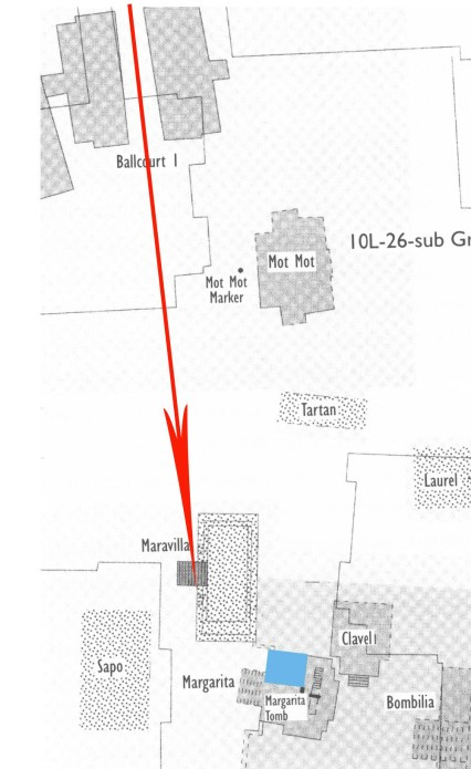 Figure 3. Alignment of Copan ballcourt with the Margarita building, Hunal building marked in blue (map by the Early Copan Acropolis Program, directed by Robert J. Sharer).
