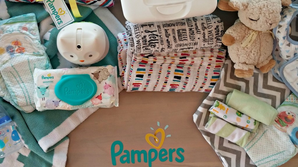 Pampers flat lay
