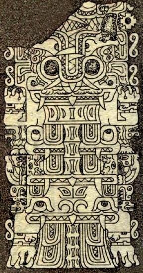 figura 30 Estela de Yauya cabeza felino y cuerpo