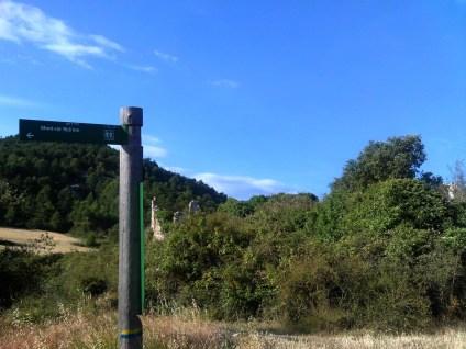 2014-07-12 Ruta dels Refugis (135) Ruine Mas Gallicant Panneau