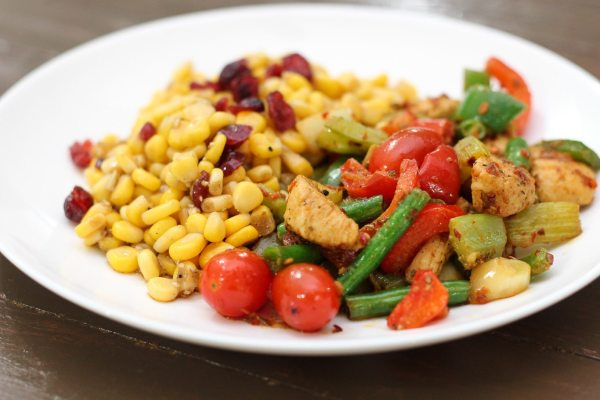 Delicious Skinny Chicken Stir Fry and Corn Salad