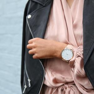 Leather Jacket, Oversized Watch, and Silk Blouse