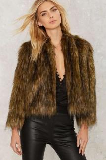 Nasty Gal Brown Faux Fur Jacket