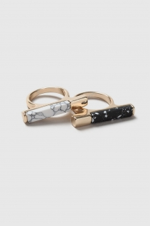 Gold Rings With Marble Stones