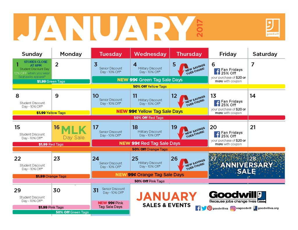 Goodwill monthly schedule to help you get amazing finds for cheap