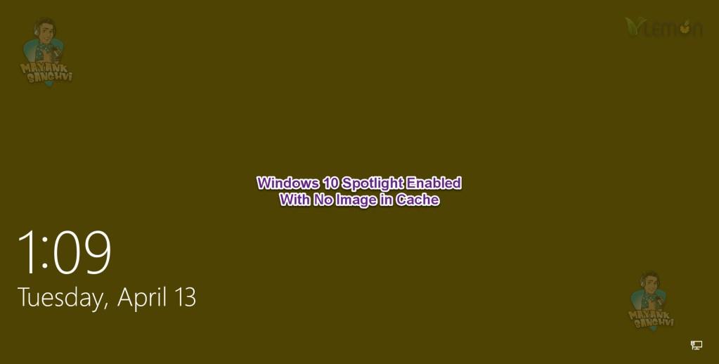 Windows Spotlight - Lock Screen Spotlight Enabled No Image