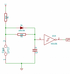 designing an rc debounce circuit maya s programming electronics blog again the switch debounce circuit is easier to see on the schematic [ 1650 x 1506 Pixel ]