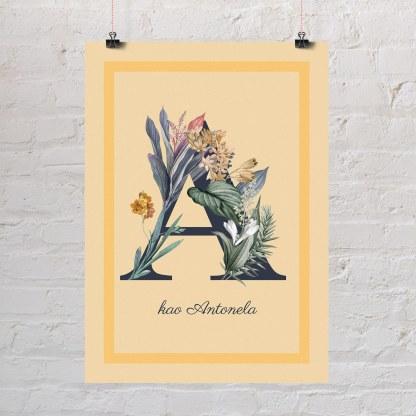 cvjetni inicijali sa cvijećem Slovo A