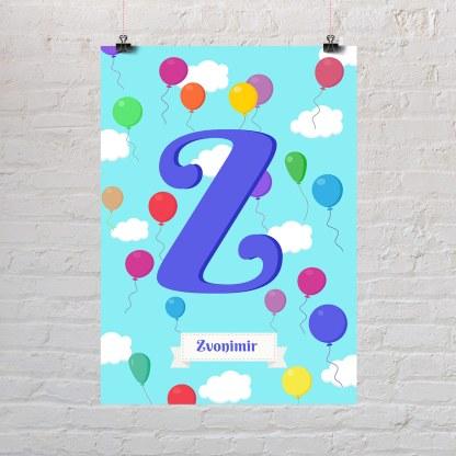 dječji rođendan s balonima poster s dječjim imenom