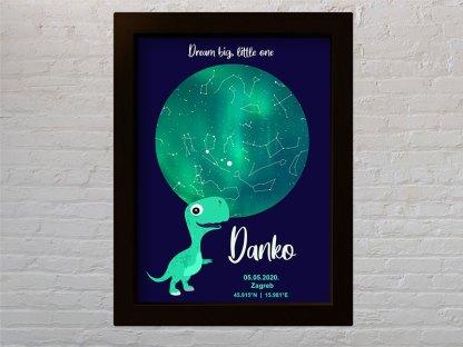 dinosaur poklon za djecji rodendan ili djecje rodenje zvjezdano nebo