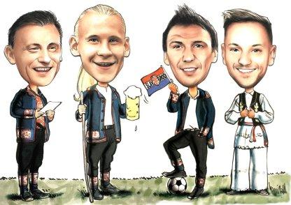 grupna karikatura ivica olic, mario mandzukic, ivan rakitic domagoj vida