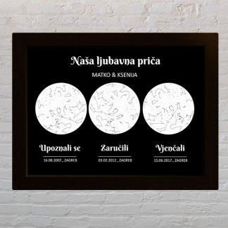 bijelo crni poklon za zaruke i vjenčanje s tri događaja