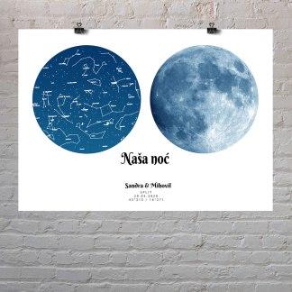 mjesečeva mijena i zvjezdana mapa plavi poster