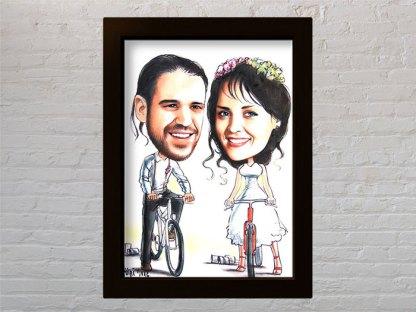 portret karikatura na poklon za vjencanje za mladi bracni par