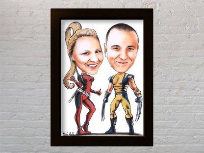 poklon karikatura za godišnjicu braka superheroji