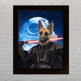 personalizirani portret kućnog ljubimca star wars pas kao dart vader