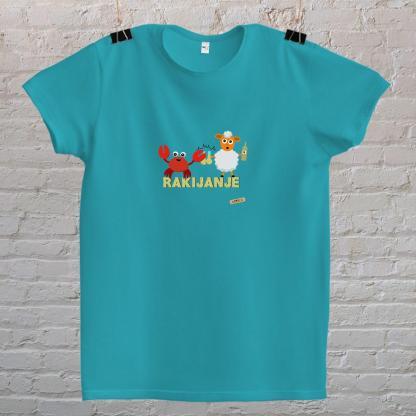 rak i janje piju rakiju rakijanje majica mayara tirkizno plava